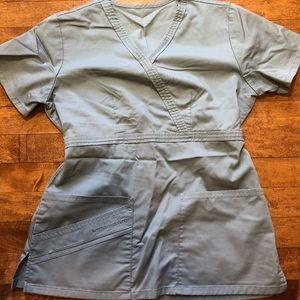 XS light gray cherokee luxe scrub top